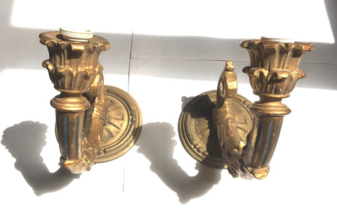 1940s Italian Gilt & Carved One-arm Sconces, Pair