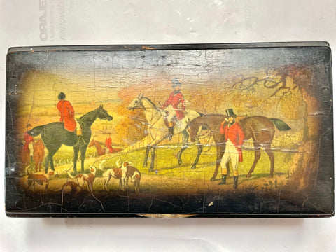 1930s English Hunting Scene Wooden Box