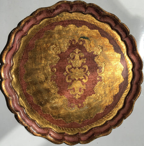 Large Round Florentine Painted and Parcel-gilt Tray