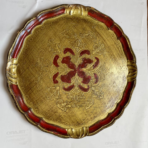 Round Florentine Painted and Parcel-gilt Ruby Tray