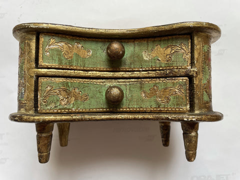 Florentine Painted & Parcel-gilt Green Box w/Filigree