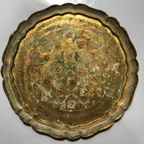 Large Round Florentine Tray w/Red Rosettes