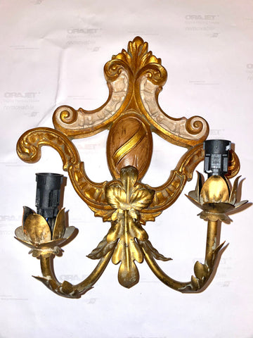 Italian Painted & Parcel-gilt 2-arm Sconce