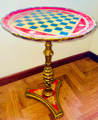 Florentine Painted and Parcel-gilt Ruby Wooden Accent Table