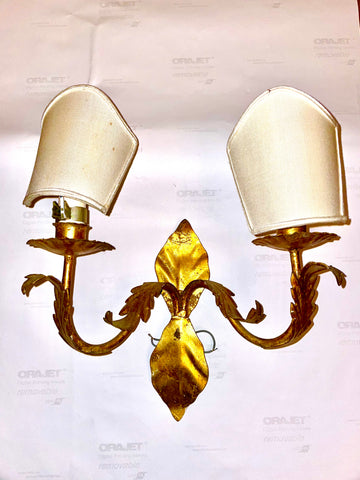 Italian Gilt 2-arm Sconce with Half-shades