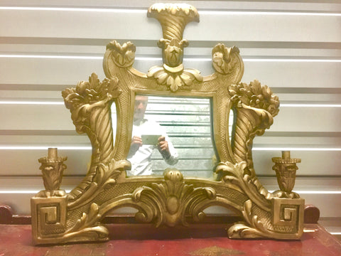 18th-C Italian Carved and Gilt Mirror w/2 Candleholders