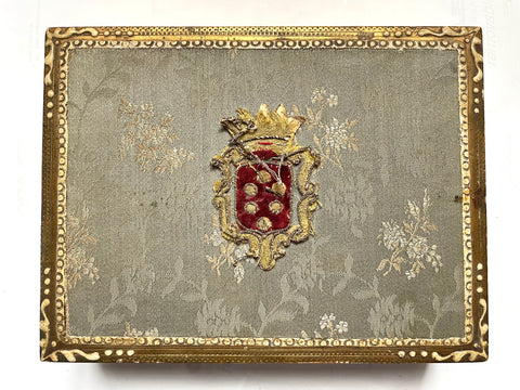 Florentine Parcel-gilt and Upholstered Wooden Box w/Crest