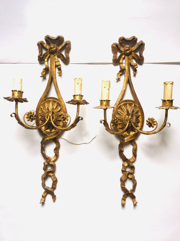 1940s Italian Carved & Gilt Two-arm Ribbon Sconces, Pair