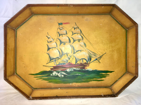 Old Frigate Square Tole Tray - FREE SHIPPING