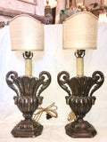 19th-Century Carved Wood Urn Table Lamps, Pair