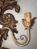 1940s Italian Carved and Parcel-gilt Sconces, Pair
