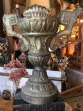 19th-Century Italian Pressed Brass and Carved Wood Urn