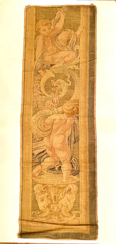 19th-C Italian Hand-Painted Tapestry