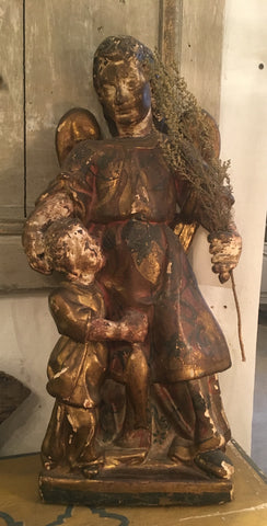 18th-Century Spanish Carved Wood Statue of Tobias and the Angel