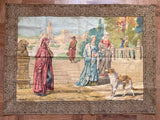 19th-C Florentine Jus d'Herbe Sur Toile Tapestry w/ Embroidered Frame