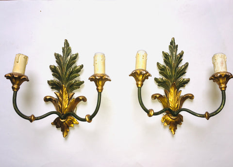 1930s Italian Painted & Parcel-gilt Two-arm Acanthus Sconces, Pair