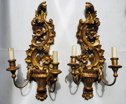 Italian 1930s Carved and Gilt Sconces, Pair