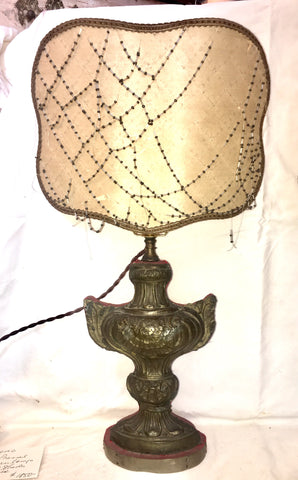 19th-Century Italian Pressed Brass Urn Lamps w/Beaded Shades