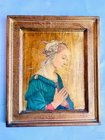 Hand-painted Religious Icon with Filigree Aura and Gilt Florentine Frame