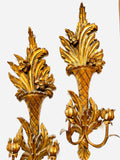 Pair of Italian Hand-carved & Gilt 2-arm Wooden Sconces