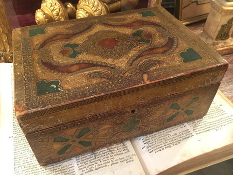 Italian Florentine Painted and Parcel-gilt Wooden Box - FREE SHIPPING