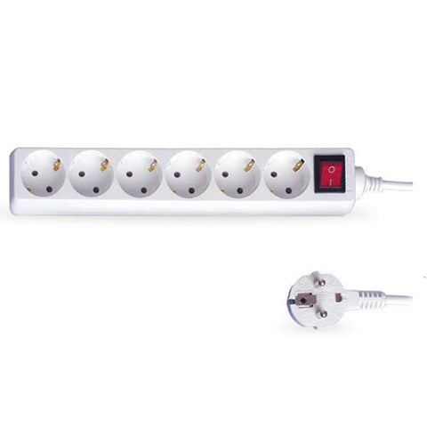 Base Múltiple 6 Enchufes con Interruptor - Cable 1,5mts Blanca - Etotalelectricidad
