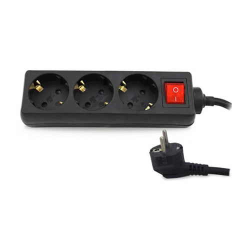 Base Múltiple 3 Enchufes con Interruptor - Cable 1,5mts Negra - Etotalelectricidad