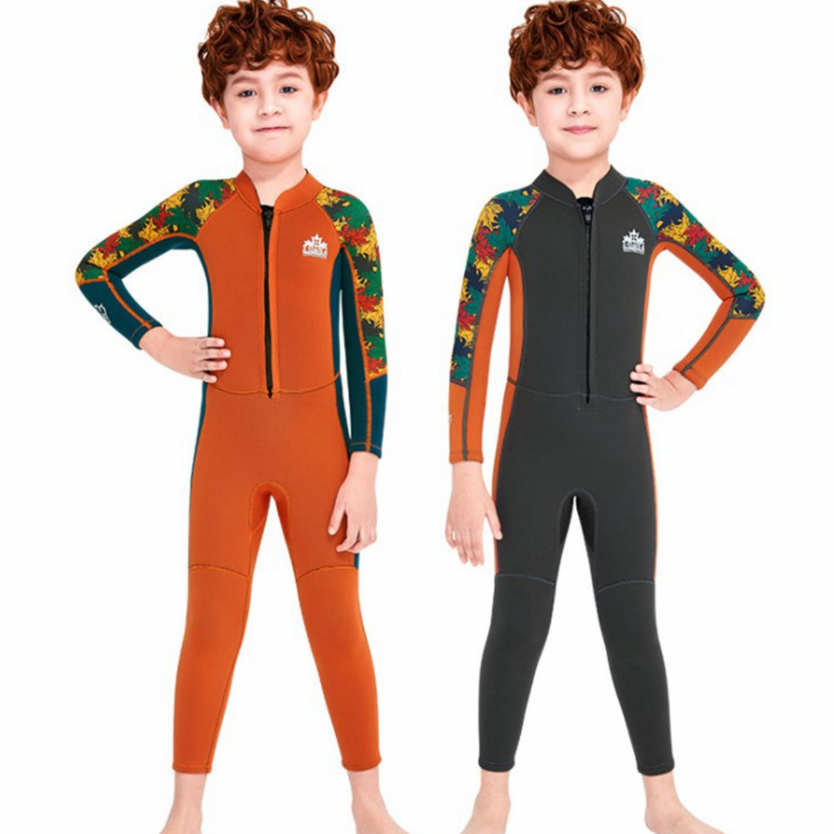 VIFUUR Kid's 2.5mm Wetsuit One-piece Long Sleeve Warm Bathing Suit Sunscreen