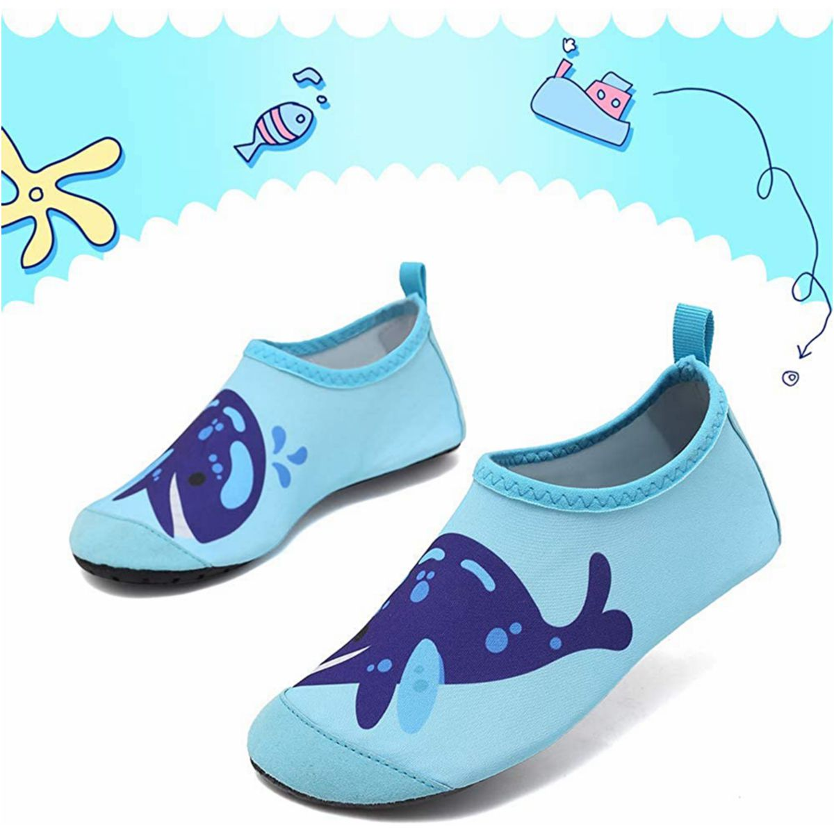 VIFUUR Girls Boys Athletic Water Shoes Whale Blue