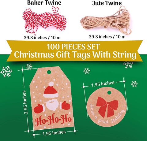 100 Pieces Set Kraft Paper Christmas Tags with String and Twine Perfect for Labeling Your Surprises - 10 Different Designs Great for Present Wrapping