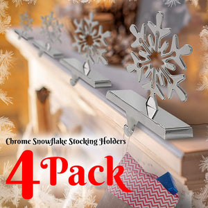 4 Pieces Snowflake Stocking Holder Perfect for Hanging Stockings - Sturdy Christmas Stocking Holders for Fireplace Mantle and Christmas Decorations