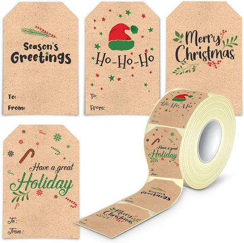 Self Adhesive Christmas Name Tags Stickers - 80 Pieces Kraft Christmas Label Tags for Presents Easy to Write On in a Dispenser Box