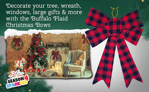 6 Piece Set Buffalo Plaid Christmas Decorations Perfect for Indoor and Outdoor - 9 x 12 Inches Large Red Christmas Bows for The Holiday Season