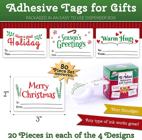 Image of Self Adhesive Christmas Name Tags Stickers - 80 Pieces Kraft Christmas Label Tags for Presents Easy to Write On in a Dispenser Box