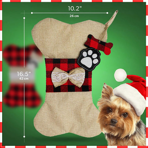 Image of Adorable Dog Bone Stocking to Fill Dog Treats and Goodies - 2 Pieces Set Pet Stockings Christmas Dog for Your Pets in The Holiday Season