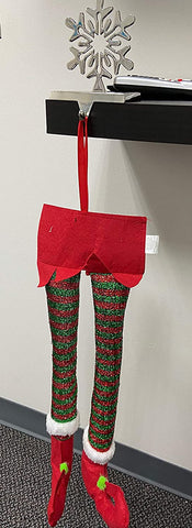 Image of Elf Christmas Decorations for Your Vehicle or Fireplace - Hanging Elf Legs for Car Perfect for Holiday Cheer Christmas Car Decoration and Accessories