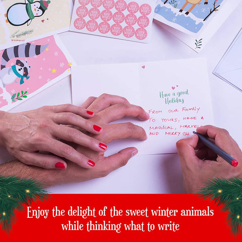 Cute Animal Christmas Cards Assorted - 54 Pieces Set - Includes 18 Pcs Each Cards, Envelopes, Stickers. Happy Holiday Cards For Your Loved Ones