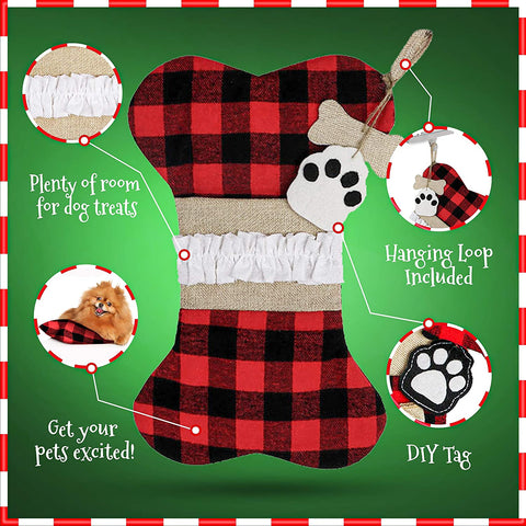 Adorable Dog Bone Stocking to Fill Dog Treats and Goodies - 2 Pieces Set Pet Stockings Christmas Dog for Your Pets in The Holiday Season