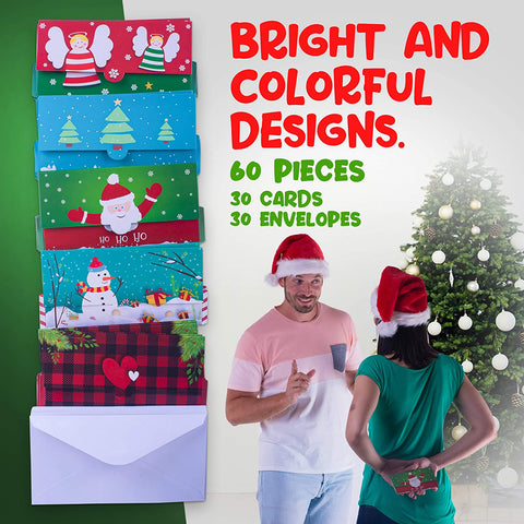 60 Pieces Set Christmas Money Cards with Envelopes Included - Christmas Card Money Holders with Bright and Colorful Designs - Holiday Money Holder