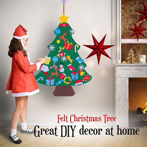 "Image of Felt Christmas Tree for Toddlers Perfect Stocking Stuffer - 37.5"" x 27.5"" Kids Wall Hanging Christmas Tree with 33 Ornaments - DIY Tree for Kids"