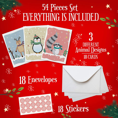 Image of Cute Animal Christmas Cards Assorted - 54 Pieces Set - Includes 18 Pcs Each Cards, Envelopes, Stickers. Happy Holiday Cards For Your Loved Ones