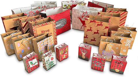 24 Pcs Set Christmas Bags Assorted Sizes - Holiday Bags Bulk. 6 Each Extra Large, Large, Medium Small. Varying Styles Printed
