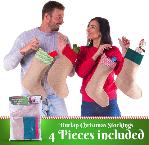 4 Pcs Set Burlap Christmas Stockings - Large 16 x 11.5 x 7 Inches Burlap Stocking Size for Treats and Goodies - Perfect Classic Xmas Burlap Stocking