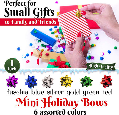 "120 Pcs Value Pack 1"" Mini Christmas Bows Multi Colored Metallic Star Shaped Stick On Xmas Bows. Perfect for Gifting Presents Party Favors Decorations"