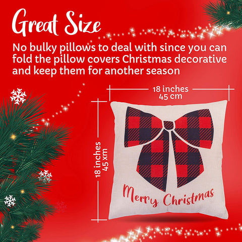 Christmas Pillow Covers 18x18 Set of 4 for Your Pillows - Cute Christmas Throw Pillow Covers for The Holidays - Decorative Covers for a Seasonal Theme