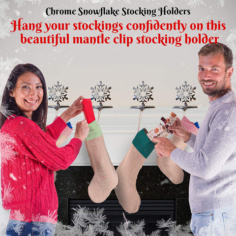 Image of 4 Pieces Snowflake Stocking Holder Perfect for Hanging Stockings - Sturdy Christmas Stocking Holders for Fireplace Mantle and Christmas Decorations