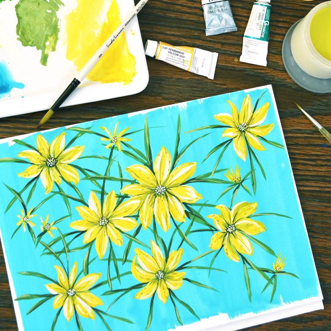 Yellow Florals Painting (Original)