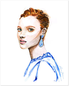 Girl with the Blue Earring (Print)