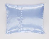 Blue Satin Pillowcase with White Pin Dot Back for Women