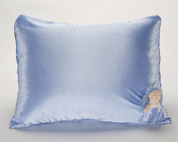 Blue Pin Dot Satin Pillowcase for Kids with Harriet Doll